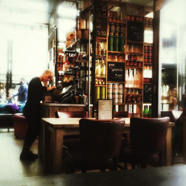 """Inside a restaurant."" stock image"