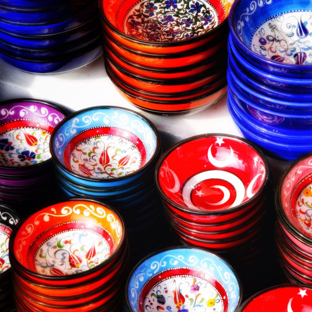 """Selection of colourful bowls in the grand bazaar istanbul"" stock image"