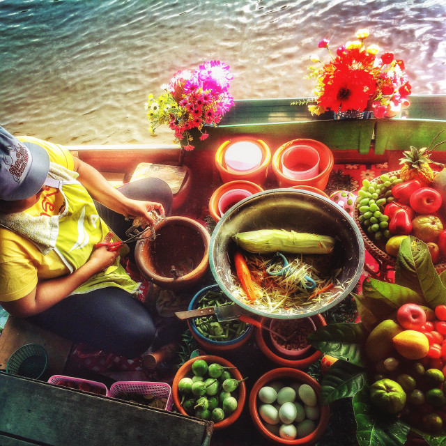 """Food being prepared on a boat at the Taling Chan floating market, Bangkok, Thailand"" stock image"