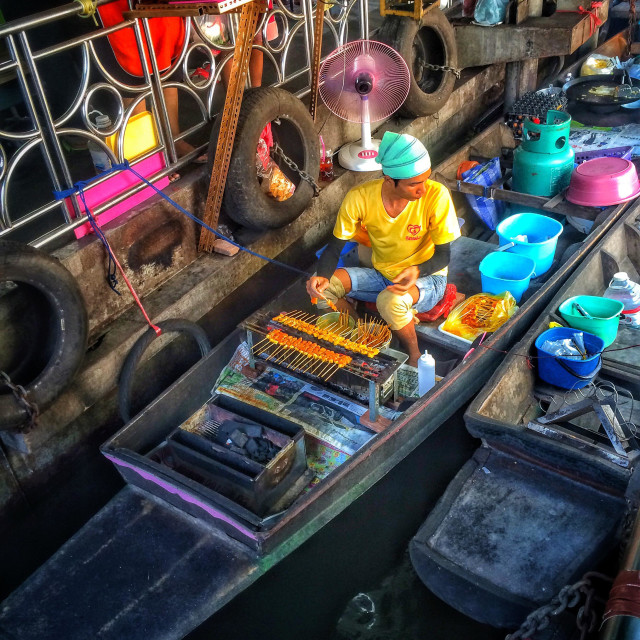 """Food being prepared on a boat at the Taling Chan floating market, Bangkok, Thailand"" stock image"