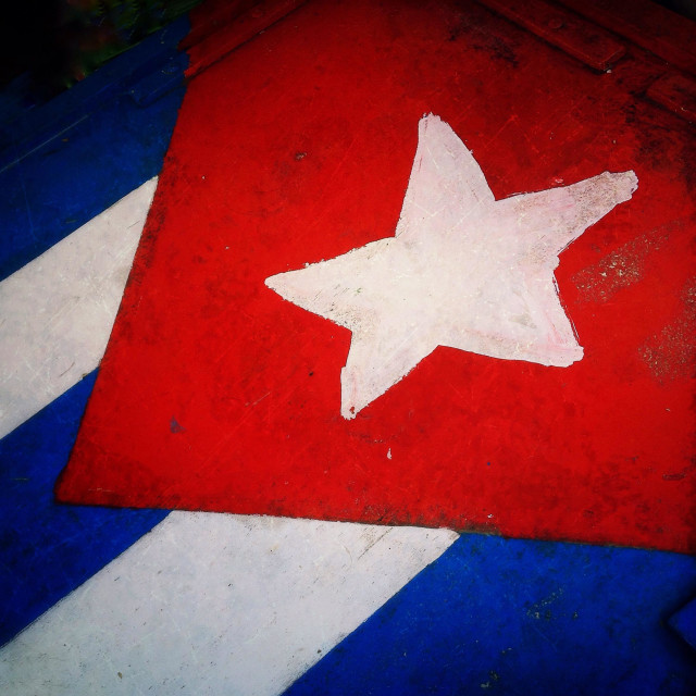 """Cuban flag close-up"" stock image"