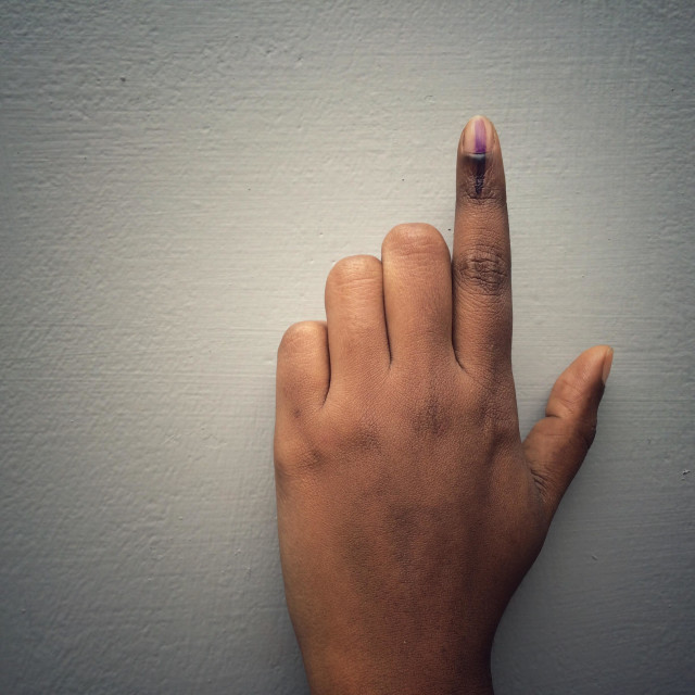 """""""Index finger marked with the voting ink in India"""" stock image"""