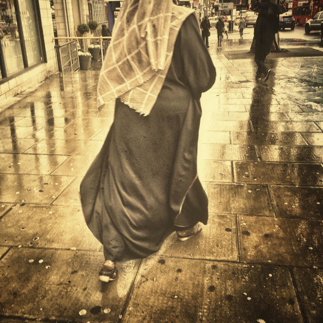 """Woman in hijab. Wood green . London, U.K."" stock image"