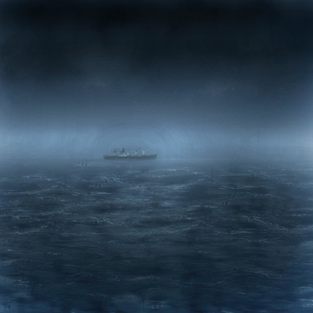 """""""Freighter on a stormy sea"""" stock image"""