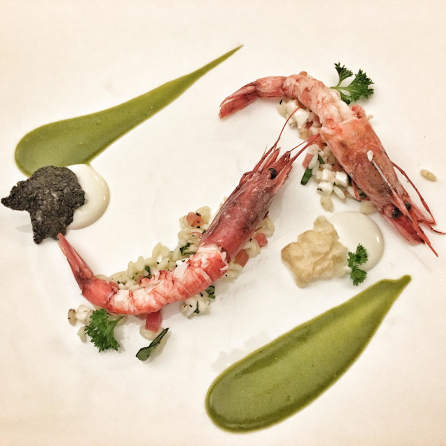 """Fine dining fish of prawns"" stock image"