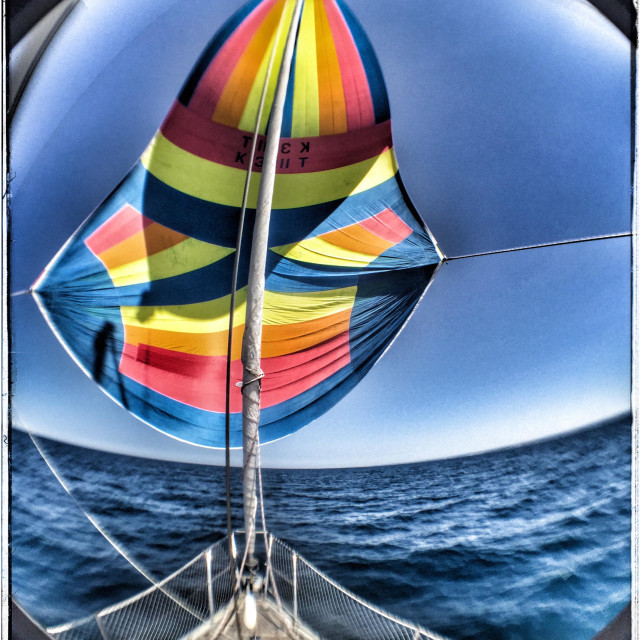 """""""Downwind sailing with a multicoloured spinnaker sail, fisheye lens view"""" stock image"""