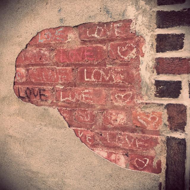 """Love Graffiti with Chalk on Brick"" stock image"