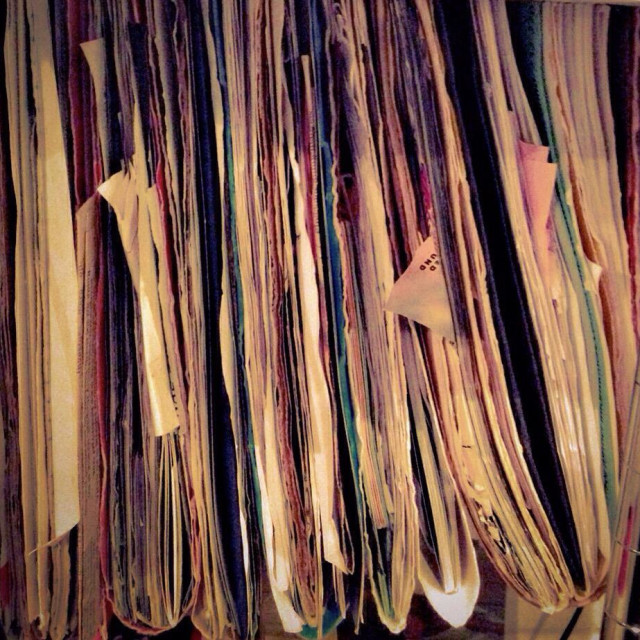 """""""Maude view of file folders filled with papers"""" stock image"""