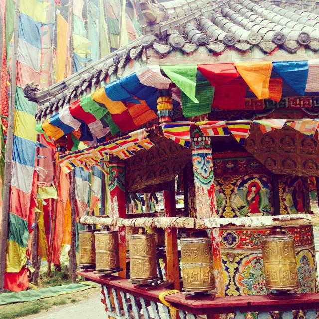 """Buddhist temple, Jiuzhaigou"" stock image"
