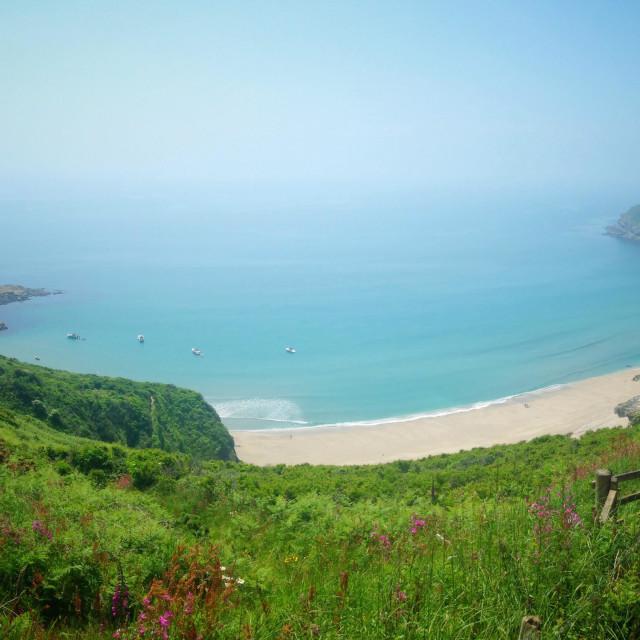 """Two walkers on Cornish Coast path"" stock image"