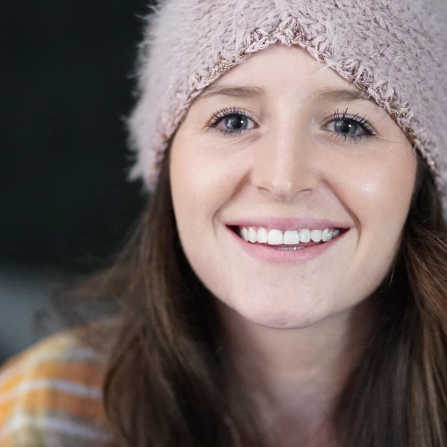 """Girl in a beanie"" stock image"