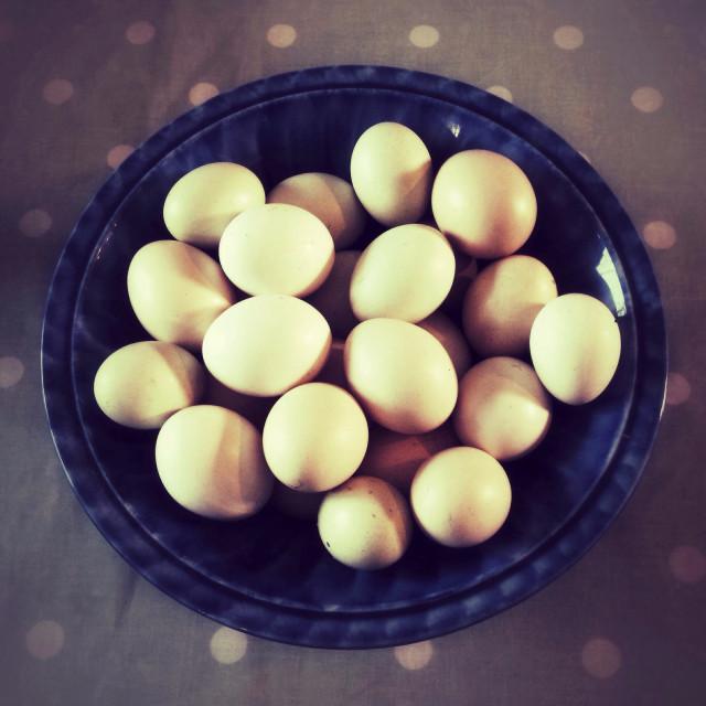 """Bowl of free range eggs"" stock image"