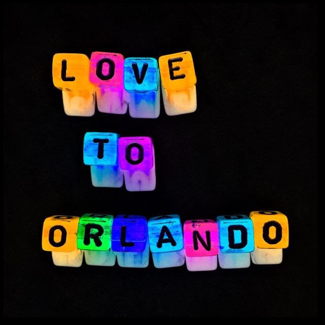 """""""Love to Orlando, Florida after the massacre at the Pulse Club"""" stock image"""