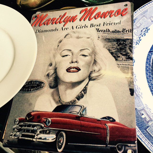 """Marilyn Monroe memorabilia at a flea market"" stock image"