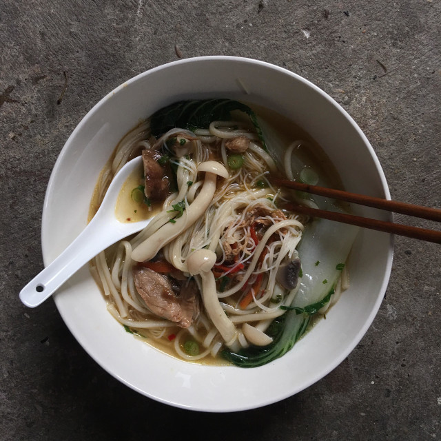 """""""Asian Chicken and Noodle Soup"""" stock image"""