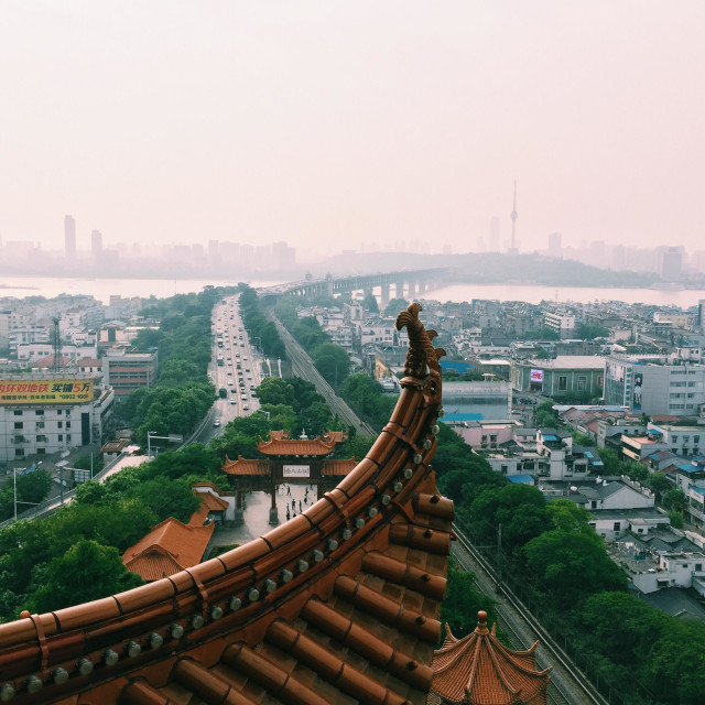 """""""Wuhan from the Yellow Crane Tower"""" stock image"""