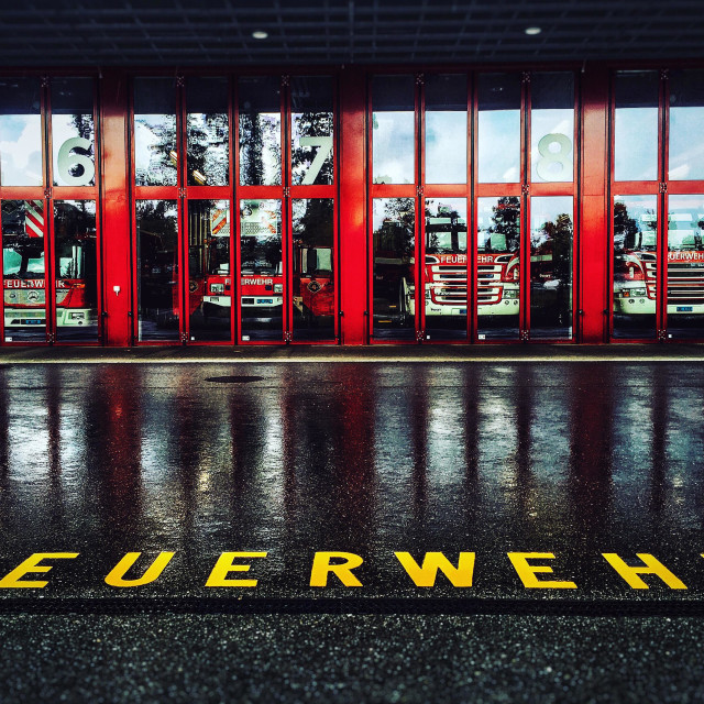 """""""Feuerwehr- fire engines at Bern fire station"""" stock image"""