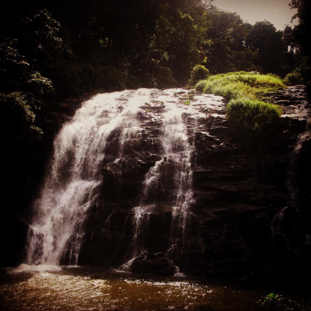 """""""Abbey falls on the River Cauvery in Madikere town on Coorg district"""" stock image"""