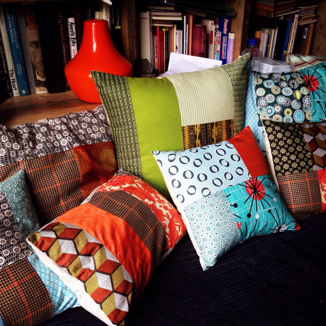 """Cushions collection on sofa"" stock image"