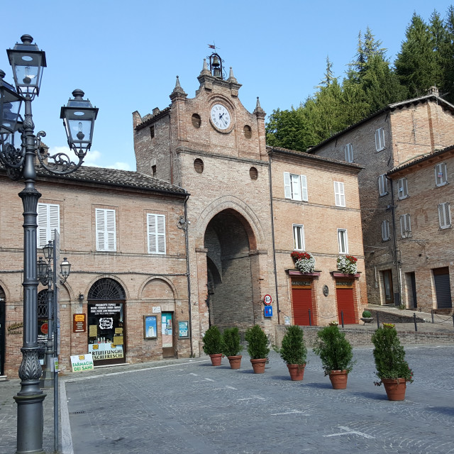 """Amandola town square, Italy"" stock image"