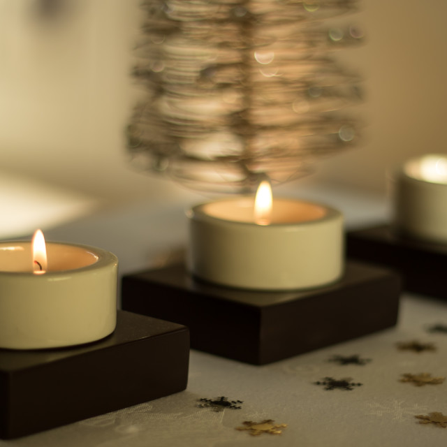 """Tea Light Christmas"" stock image"