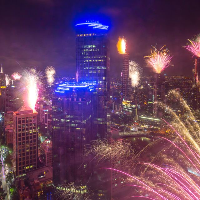 """""""New Year Eve Fireworks Dispplay at Melbourne CBD"""" stock image"""