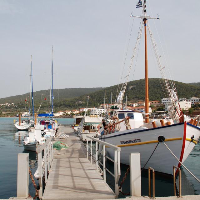 """Milos harbour, Agistri"" stock image"