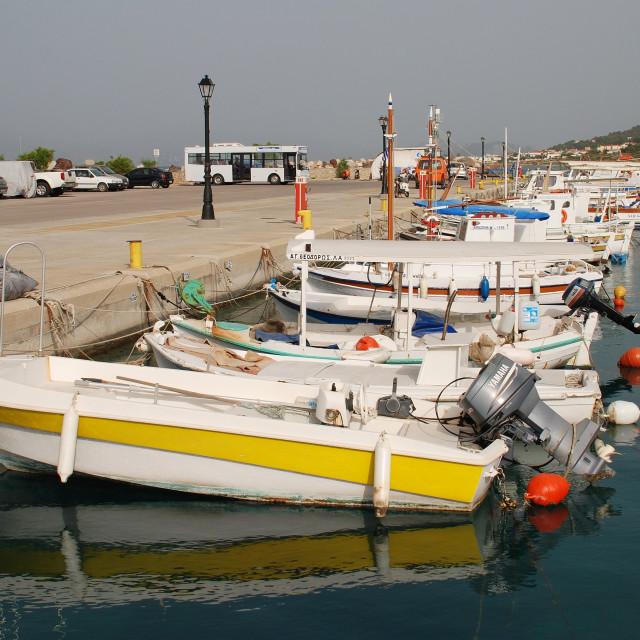 """Milos boats, Agistri"" stock image"