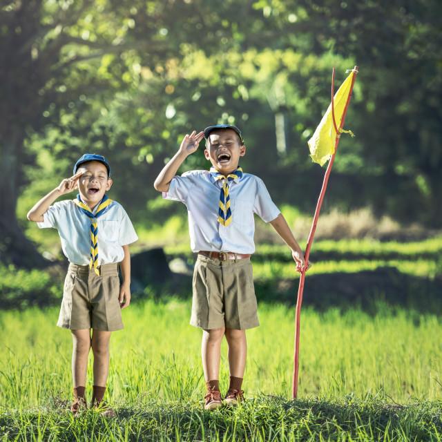 """Boy scout making an oath"" stock image"