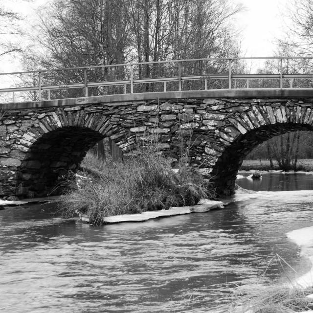 """""""old stonebridge over the cold water in sweden"""" stock image"""