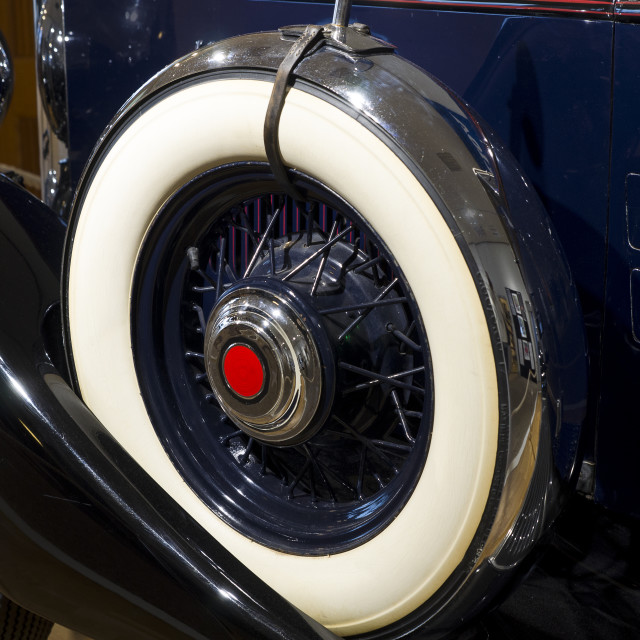 """""""spare wheel of one old classic car"""" stock image"""