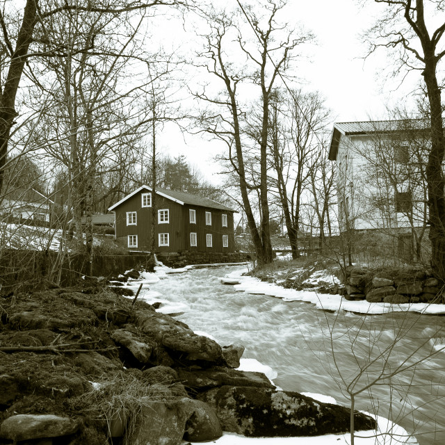 """""""Kungsbacka river with cold water and ice"""" stock image"""