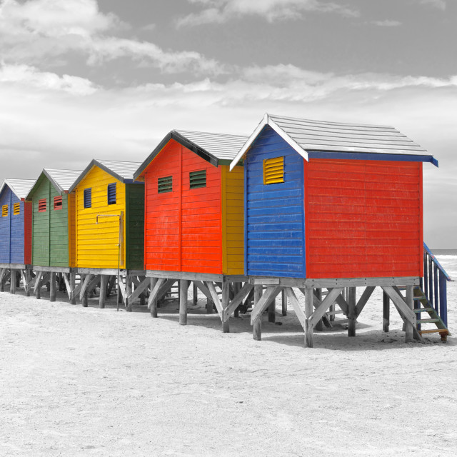 """Painted beach huts, Cape Town, South Africa"" stock image"