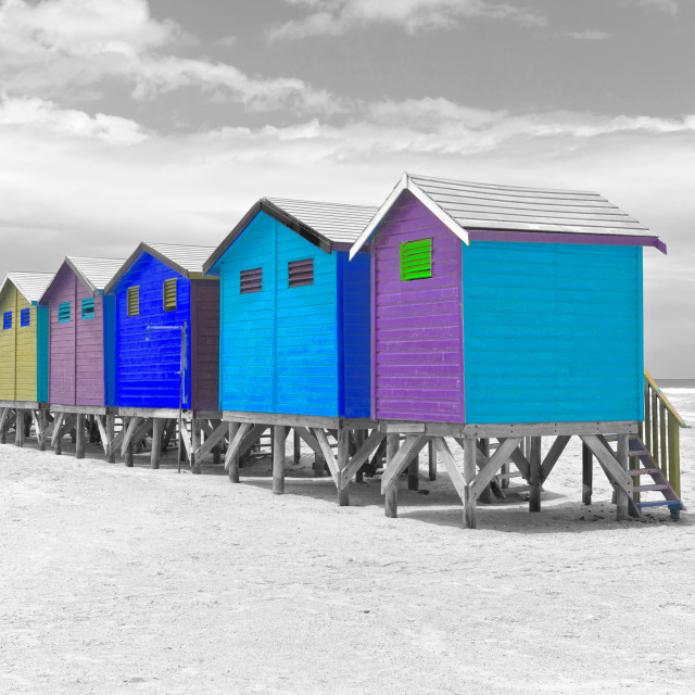 """Colorful painted beach huts, Cape Town"" stock image"
