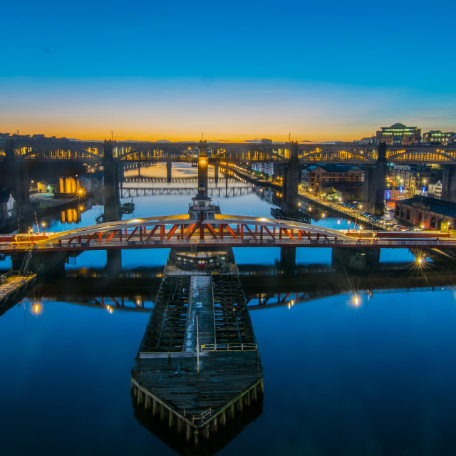 """Tyne Bridges at Twilight"" stock image"