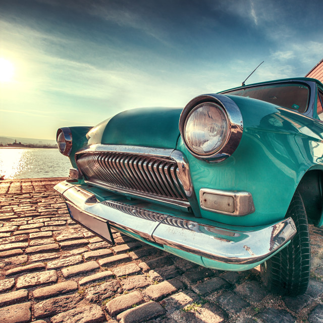"""Vintage car near the sea"" stock image"