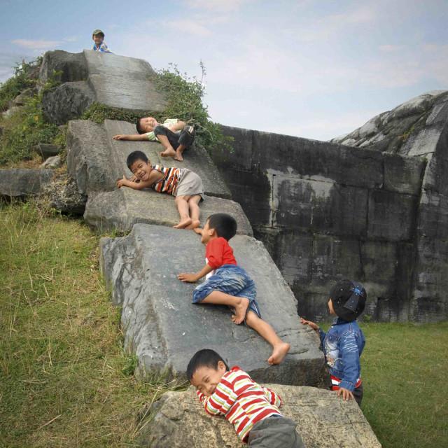 """""""Children at Ho Bunker"""" stock image"""