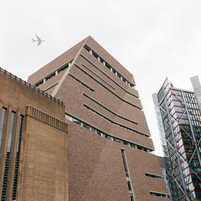 """""""Tate Modern & Plane"""" stock image"""