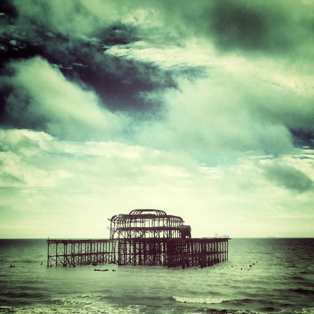 """Derelict West Pier Brighton"" stock image"