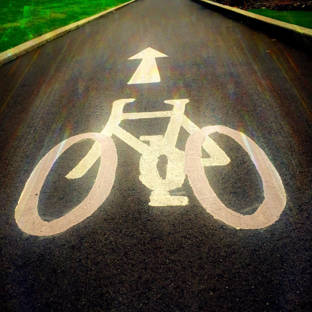 """""""Road markings of a bicycle lane"""" stock image"""