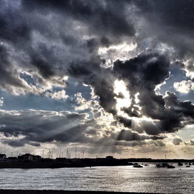 """""""Summer storm clouds over the river Deben, Felixstowe Ferry, Suffolk, England."""" stock image"""