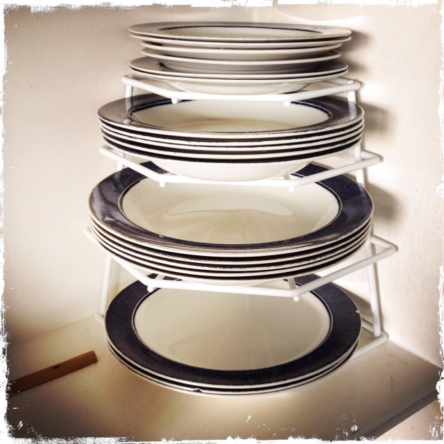 """""""A stack of crockery"""" stock image"""