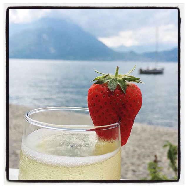 """Prosecco by the lake"" stock image"