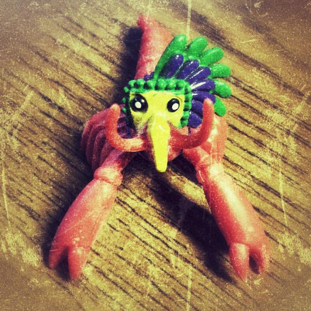 """""""Crawfish with Mardi Gras mask"""" stock image"""