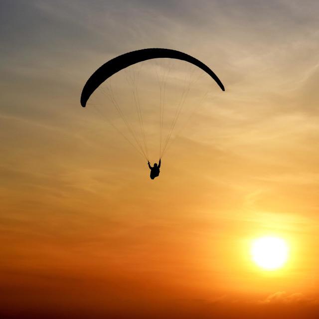 """Paraglider in Lima, Peru"" stock image"