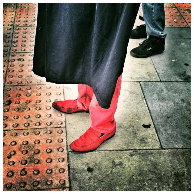 """""""Red shoes and trousers"""" stock image"""