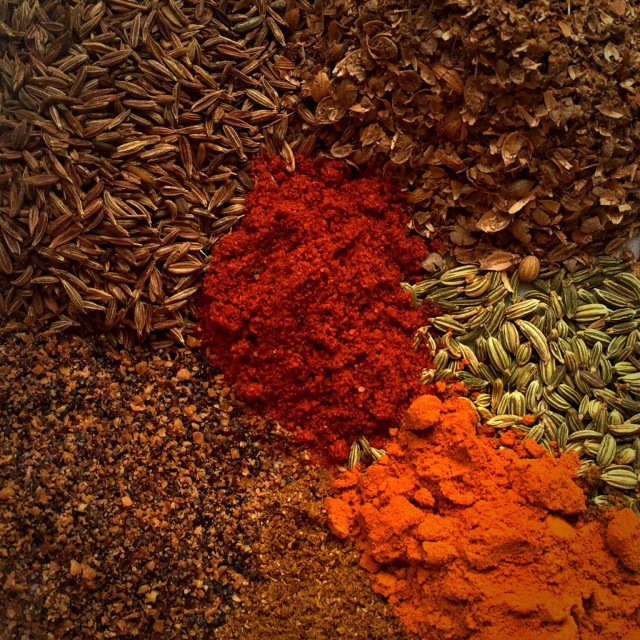 """Whole and ground spices"" stock image"