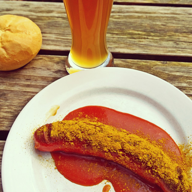 """Beer and curry wurst, typical Bavarian food"" stock image"
