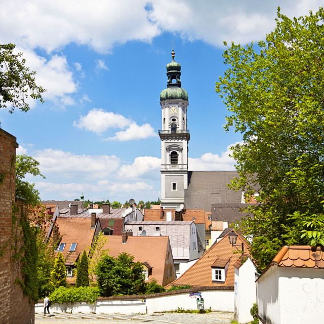 """Freising, old town in Bavaria, city view"" stock image"