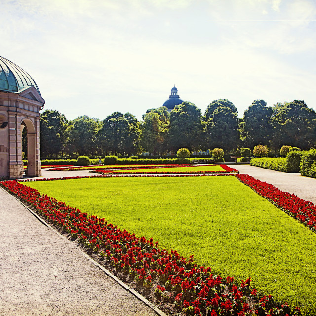 """Munich, Germany - Hofgarten round pavillon and Italian style baroque garden"" stock image"